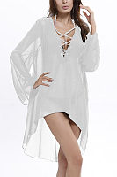 Chiffon Deep V Neck Bell Sleeve Asymmetric Hem Cover up