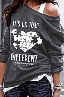 Heart Printed Long Sleeve Sweatshirt