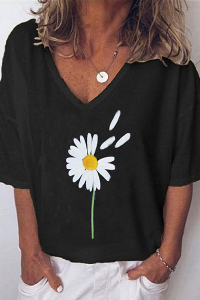 Plants Printed V Neck Loose T-shirt