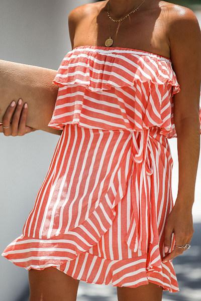Off Shoulder  Striped Skater Dresses