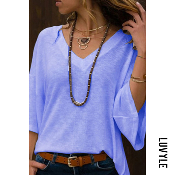 Blue Deep V Neck Bell Sleeve T-Shirts Blue Deep V Neck Bell Sleeve T-Shirts