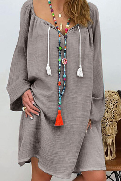 Casual Cotton Long-Sleeved V-Neck Tie Multi-Color Dress
