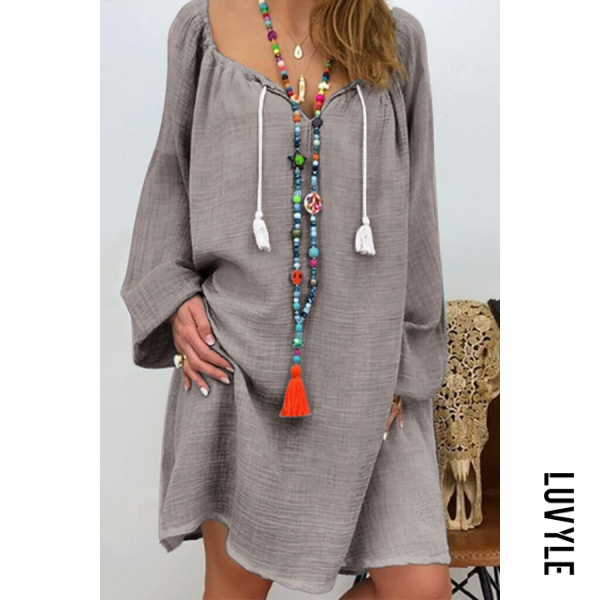 Gray Casual Cotton Long-Sleeved V-Neck Tie Multi-Color Dress Gray Casual Cotton Long-Sleeved V-Neck Tie Multi-Color Dress