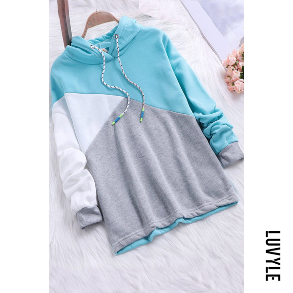 Lake Blue Hooded Color Block Long Sleeve Hoodies Lake Blue Hooded Color Block Long Sleeve Hoodies