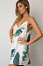 Spaghetti Strap V Neck  Backless  Printed  Sleeveless Casual Dresses