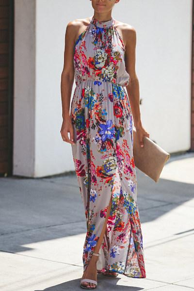 Band Collar  Cutout  Print  Sleeveless Maxi Dresses