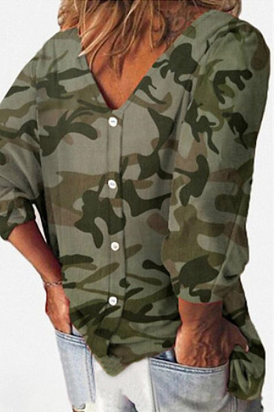 Casual V Neck Long Sleeve Camouflage T-Shirt