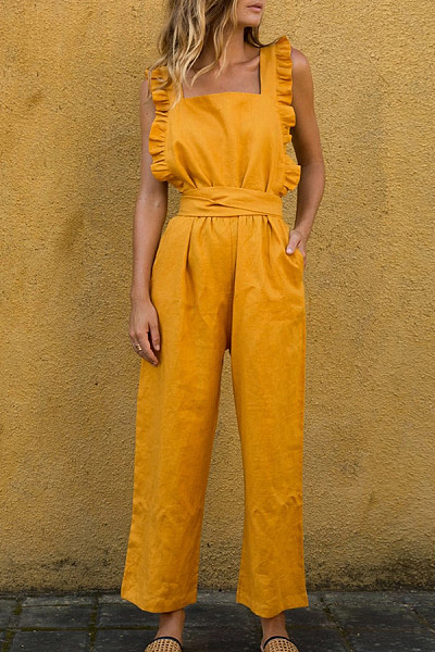Square Neck  Backless  Plain  Sleeveless Jumpsuits