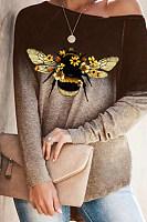 Gradient bee print long sleeve T-shirt