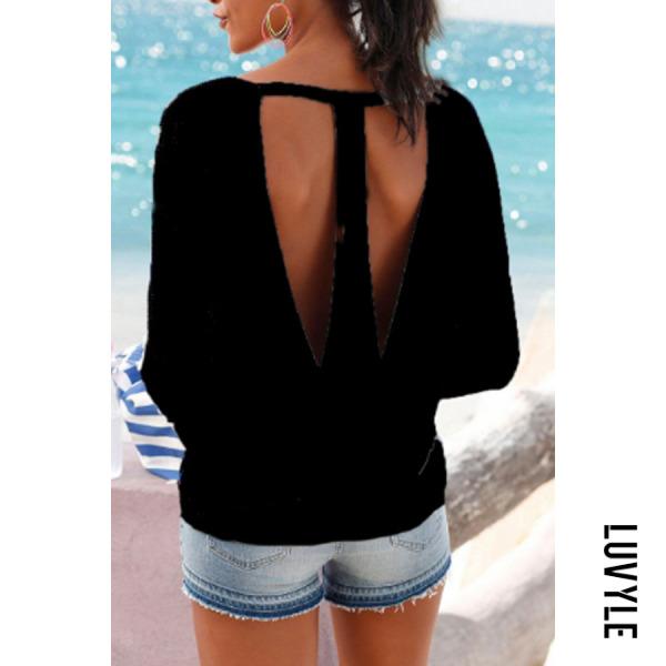 Black Round Neck Backless Plain T-Shirts Black Round Neck Backless Plain T-Shirts