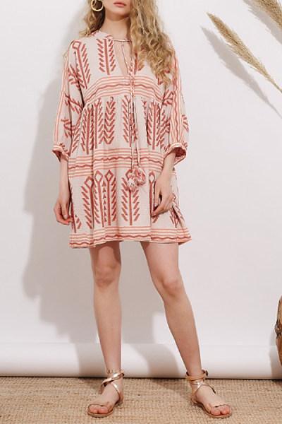 Asymmetric Neck  Printed Casual Dresses