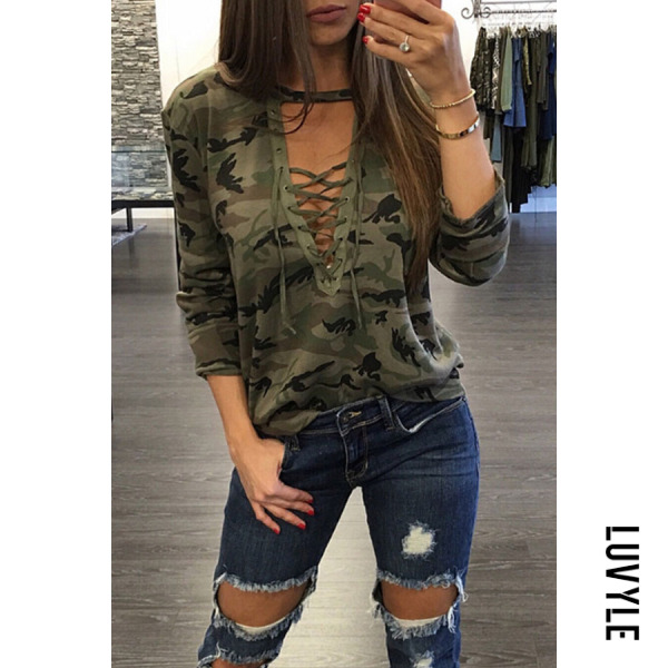Green Deep V Neck Lace Up Camouflage T-Shirts Green Deep V Neck Lace Up Camouflage T-Shirts