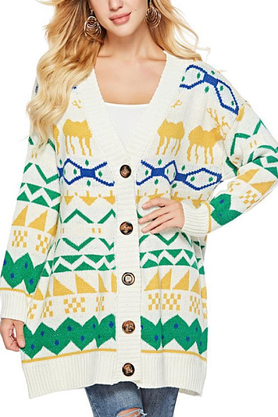 Band Collar  Single Breasted  Geometric Cardigans