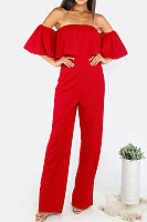 Strapless  Backless Flounce  Plain Jumpsuits