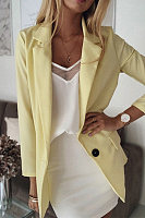 Long Sleeve Solid Color Casual One Button Blazer