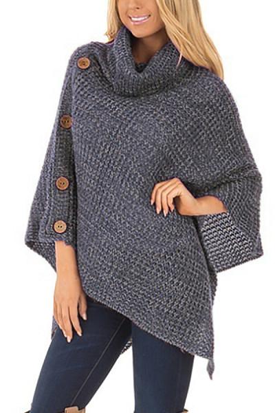 Round Neck  Asymmetric Hem  Decorative Buttons  Assorted Colors Sweaters