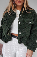 Lapel Pocket Long Sleeve Button Plain Coats