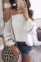 White Patchwork Plain T-Shirts Blouses