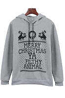 Christmas  Hooded  Drawstring  Letters Hoodies