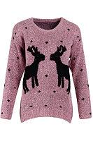 Round Neck  Asymmetric Hem Two Deers  Dot Sweaters