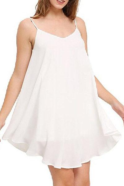 Spaghetti Strap  Asymmetric Hem Backless  Plain  Sleeveless Casual Dresses