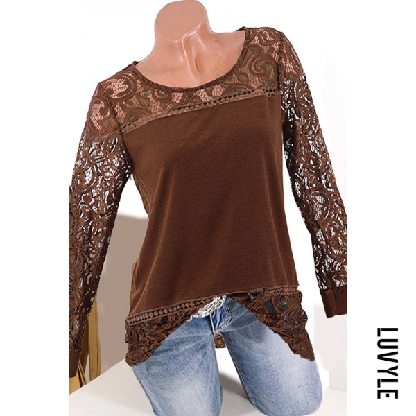 Coffee Round Neck Patchwork Elegant Lace Plain Long Sleeve T-Shirts Coffee Round Neck Patchwork Elegant Lace Plain Long Sleeve T-Shirts