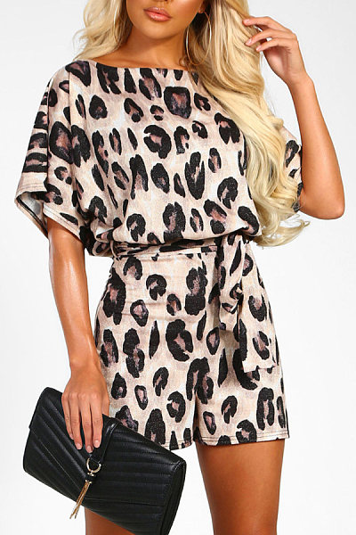 Round Neck  Leopard Printed  Short Sleeve  Playsuits