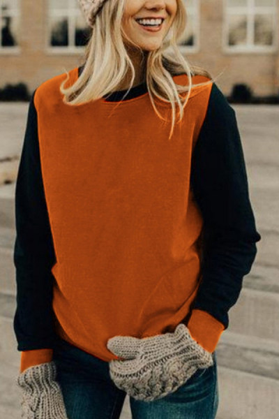 Round  Neck  Patchwork  Basic  Sweatshirts