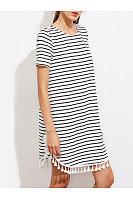 Round Neck  Fringe  Print  Short Sleeve Casual Dresses