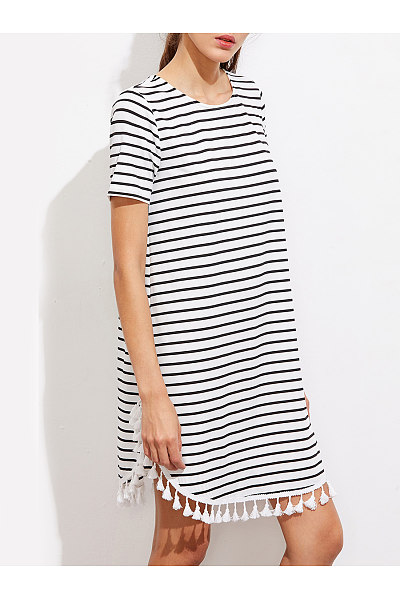 Round Neck  Fringe  Print  Short Sleeve Casual Dresses