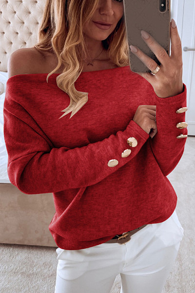 Open Shoulder Plain Casual Sweatshirt
