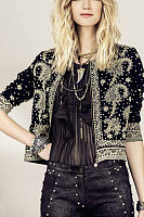 Band Collar  Abstract Print Jackets
