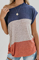 One Shoulder  Striped T-Shirts