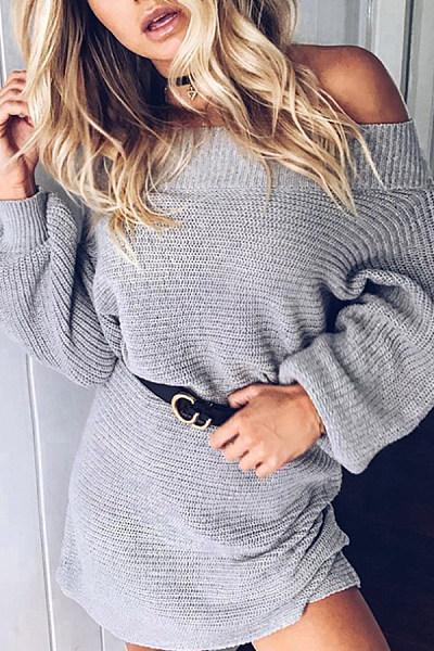 Off  Shoulder  Plain Sweaters