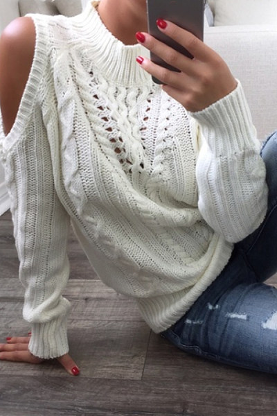 Regular  Casual  Shoulder Out  Plain  Long Sleeve Sweaters