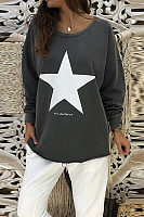 Round Neck  Loose Fitting  Geometric  Sweatshirts