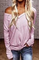 V Neck Knit Plain T-Shirt