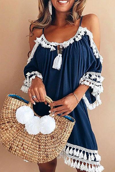 Bohemian Off Shoulder Casual Shift Dress