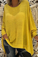 Casual Solid Color Loose Round Neck Long Sleeve T-Shirt
