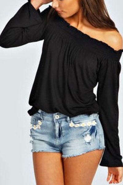 Off Shoulder  Plain T-Shirts