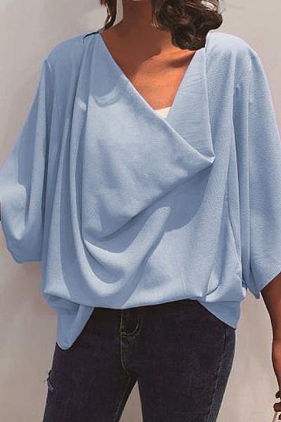 Fashion Chiffon Bat Sleeve V-Neck Top