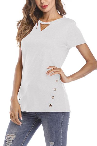 Crew Neck  Decorative Buttons  Plain T-Shirts