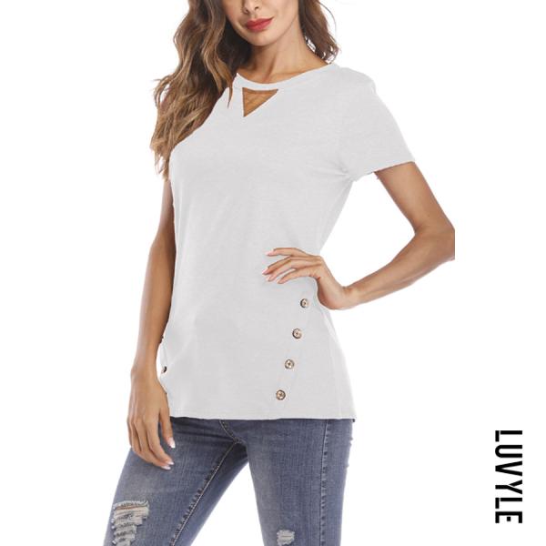 White Crew Neck Decorative Buttons Plain T-Shirts White Crew Neck Decorative Buttons Plain T-Shirts