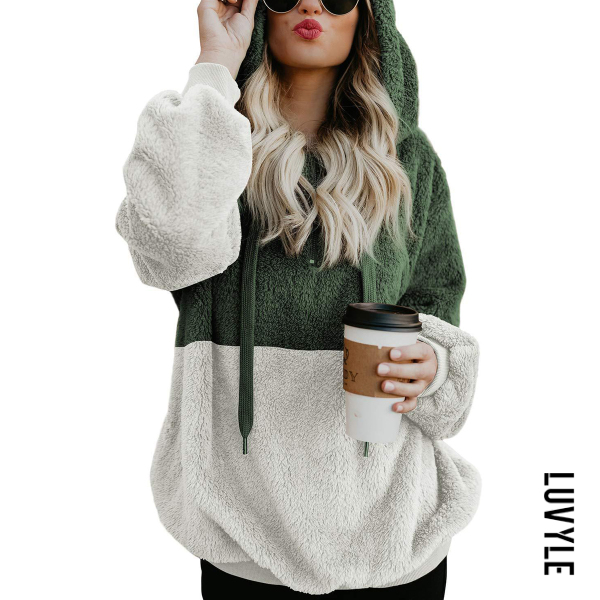 Green Hooded Cotton Patchwork Casual Hoodies Green Hooded Cotton Patchwork Casual Hoodies