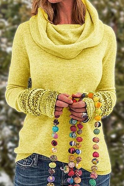 Casual solid color turtleneck sweatshirt