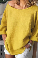Round Neck  Loose Fitting  Plain  Blouses