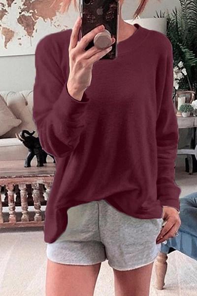 Casual Outdoor Round Neck Long Sleeve Loose Sweatshirt