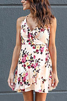 Spaghetti Strap  Asymmetric Hem  Cascading Ruffles  Floral Printed  Sleeveless Casual Dresses
