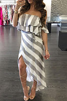 Off Shoulder  Asymmetric Hem  Striped  Short Sleeve Maxi Dresses