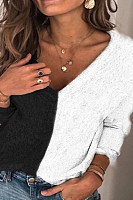 Color block stitching long-sleeved V-neck top T-shirt sweater